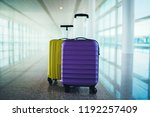 suitcases in empty airport... | Shutterstock . vector #1192257409