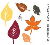 autumn leaf leaves set kit... | Shutterstock .eps vector #1192259179