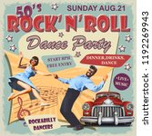 rock and roll dance party retro ... | Shutterstock .eps vector #1192269943