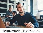 portrait of smiling manager... | Shutterstock . vector #1192270273