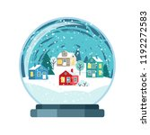 christmas snow globe with small ... | Shutterstock .eps vector #1192272583