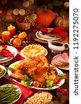 thanksgiving dinner. roasted... | Shutterstock . vector #1192275070