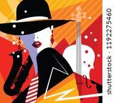 fashion woman in style pop art... | Shutterstock .eps vector #1192275460