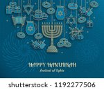 hanukkah greeting card with... | Shutterstock .eps vector #1192277506