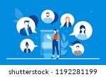 online meeting   flat design... | Shutterstock .eps vector #1192281199