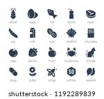 allergens icon set in glyph... | Shutterstock .eps vector #1192289839