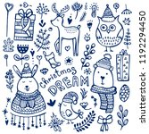 christmas doodle collection.... | Shutterstock .eps vector #1192294450