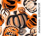 thanksgiving pumpkin seamless... | Shutterstock .eps vector #1192296739