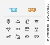 logistics icons set. delivery...