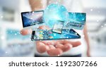 businessman connecting tech... | Shutterstock . vector #1192307266