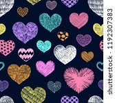 hearts doodles pattern.... | Shutterstock .eps vector #1192307383