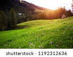 beautiful mountain landscape at ... | Shutterstock . vector #1192312636
