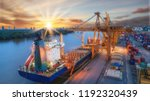 container ship from sea port... | Shutterstock . vector #1192320439