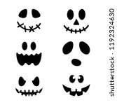 halloween pumpkin faces icons... | Shutterstock .eps vector #1192324630