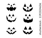 halloween pumpkin faces icons... | Shutterstock .eps vector #1192324636