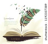 writing pen multicolored... | Shutterstock .eps vector #1192337389