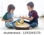 cute little children  boy... | Shutterstock . vector #1192343170
