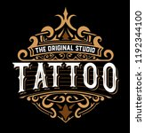 tattoo logo with floral details   Shutterstock .eps vector #1192344100