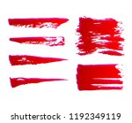 set of hand painted red ink... | Shutterstock .eps vector #1192349119