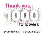 1000 followers card for... | Shutterstock .eps vector #1192351120