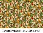 seamless  paisley pattern with... | Shutterstock . vector #1192351540