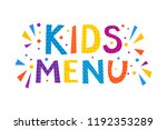 kids menu text banner. vector... | Shutterstock .eps vector #1192353289