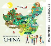 map of china attractions vector ... | Shutterstock .eps vector #1192360276