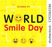 world smile day with lettering... | Shutterstock .eps vector #1192363186