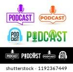set of podcast logo. badge ... | Shutterstock .eps vector #1192367449