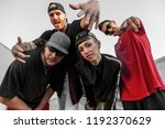 group of rappers posing on the... | Shutterstock . vector #1192370629
