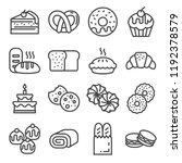 line bakery line icons   bread  ... | Shutterstock .eps vector #1192378579