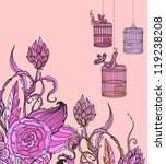 Romantic hand drawn floral card wirh bird and cage, illustration for holiday design - stock photo