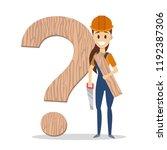 female carpenter holding a... | Shutterstock .eps vector #1192387306