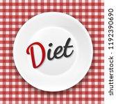 diet white plate  | Shutterstock . vector #1192390690
