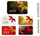gift card with bows big set  | Shutterstock . vector #1192390720