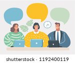 smiling people with notebooks... | Shutterstock .eps vector #1192400119