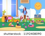 kids playing kindergarten class.... | Shutterstock .eps vector #1192408090