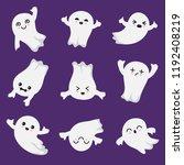 cute kawaii ghost. halloween... | Shutterstock .eps vector #1192408219