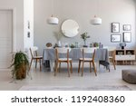 grey dining room interior with... | Shutterstock . vector #1192408360