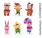 kids wearing christmas costumes.... | Shutterstock .eps vector #1192408933