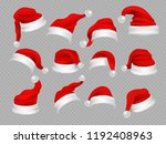 big set of realistic santa hats ... | Shutterstock .eps vector #1192408963