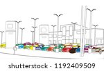 parking lot parking car... | Shutterstock . vector #1192409509
