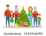 big family in sweater standing... | Shutterstock .eps vector #1192416490
