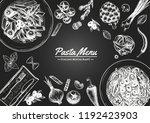 italian pasta frame . hand... | Shutterstock .eps vector #1192423903