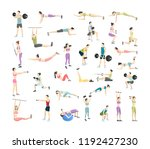 big set of people doing... | Shutterstock .eps vector #1192427230