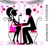 Silhouette of the couple, romantic New Year or Christmas dinner, illustration, vector - stock vector