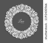 vintage round frame with lace... | Shutterstock .eps vector #1192430566
