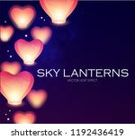 flying sky lanterns. chinese... | Shutterstock .eps vector #1192436419
