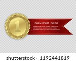 champion medails with red... | Shutterstock .eps vector #1192441819