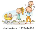 happy cartoon family with two... | Shutterstock .eps vector #1192446136